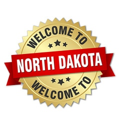 North Dakota 3d gold badge with red ribbon vector