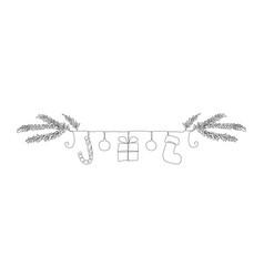 one line christmas symbols border vector image