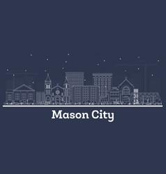 outline mason city iowa skyline with white vector image