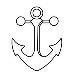 outline metal anchor equipment nautical security vector image