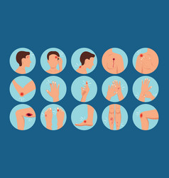 Pain in human body parts physical injury vector