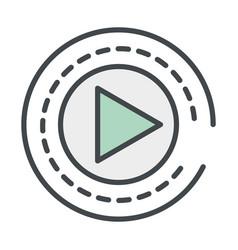 Play button round icon vector