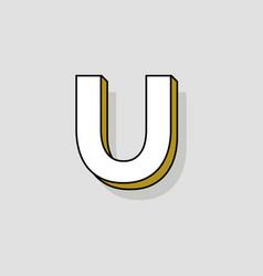 pop art logo letter u vector image