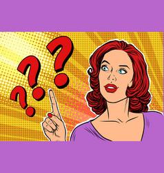 Question mark pop art woman vector
