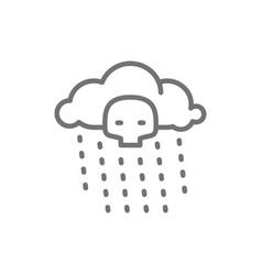 Radioactive rain line icon isolated on white vector