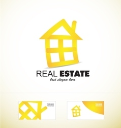 Real estate yellow house logo icon vector