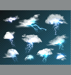 Realistic clouds with lightning set on transparent vector