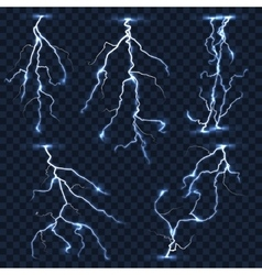 Realistic lightnings set on plaid vector