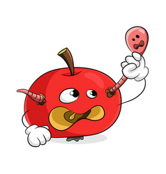 Red rotten apple remove worm from yourself vector