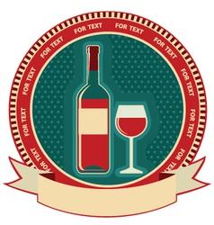 Red wine bottle label symbol background vector