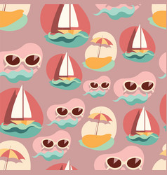 seamless background pattern with summer elements vector image