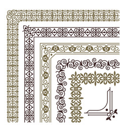 seamless corners filigree flourish ornament vector image