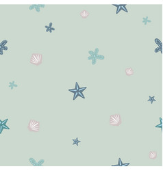 seamless pattern with seashell repeating vector image
