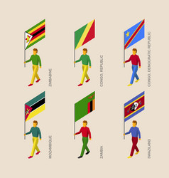 set of 3d isometric people with flags of africa vector image