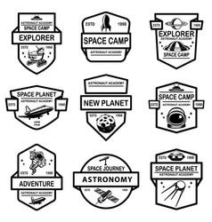 Set space camp label templates design element vector