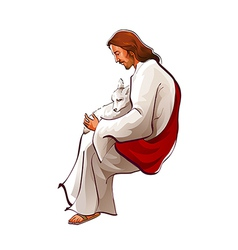 Side view of Jesus Christ sitting with sheep vector image
