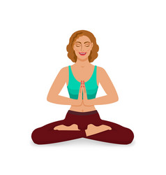 smiling girl with closed eyes meditating in yoga vector image