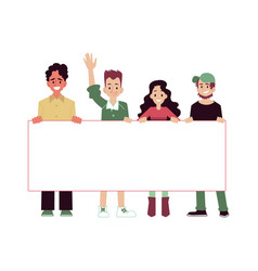 Smiling people with blank banner taking part in vector