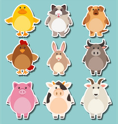 sticker design for cute farm animals vector image