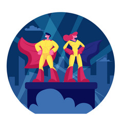 superhero couple man and woman wearing yellow vector image
