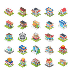 Supermarket cafe store flat icons set vector