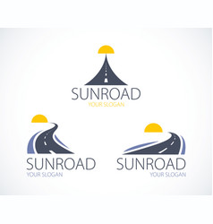 The roads to the setting sun curved highways vector
