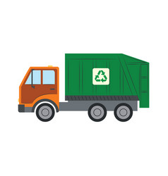 trash truck with recycle symbol - green lorry vector image