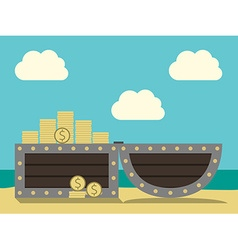 Treasure chest on beach vector