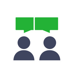Two persons with speech bubbles colored icon vector