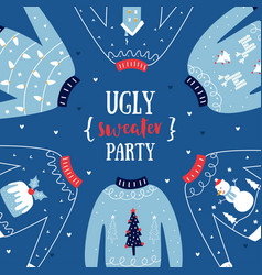 ugly sweater christmas or new year party vector image