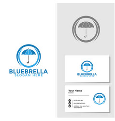 umbrella logo template with business card design vector image
