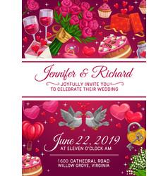 Wedding rings cake and love hearts invitation vector