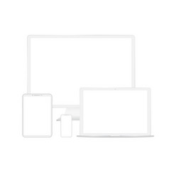 white digital gadgets vector image
