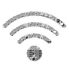 Wi-fi source mosaic icon for bigdata and computing vector