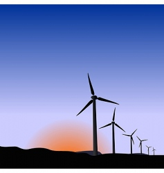 wind generators of sunrise vector image