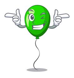 Wink green baloon on left corner mascot vector