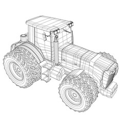 wire-frame tractor isolated on white background vector image