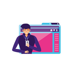 Young man using smartphone with webpage template vector