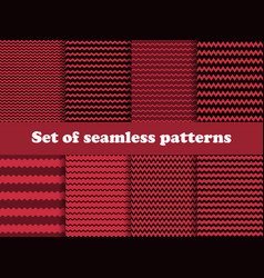 Zigzag set seamless pattern with black and red vector