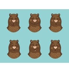 Funny bear emotion icon set vector image