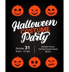 Halloween costume party hand written lettering vector image