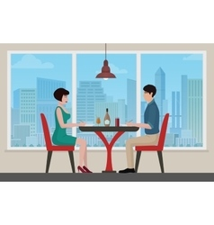 Happy young couple meeting and having lanch at vector image