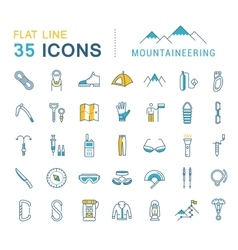 Set Flat Line Icons Mountaineering vector image vector image