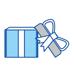 blue contour of opened gift box with decorative vector image vector image