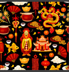chinese new year holiday seamless pattern vector image