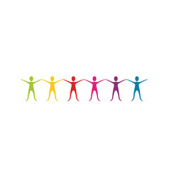 color people with hands up icon vector image vector image
