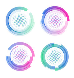 isolated abstract colorful round shape logo set vector image