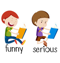 opposite wordcard for funny and serious vector image