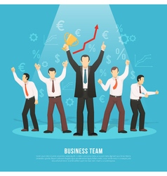 Business Team Success Flat Poster vector image vector image