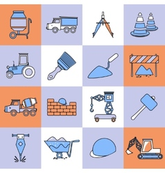 Construction icons set flat line vector image